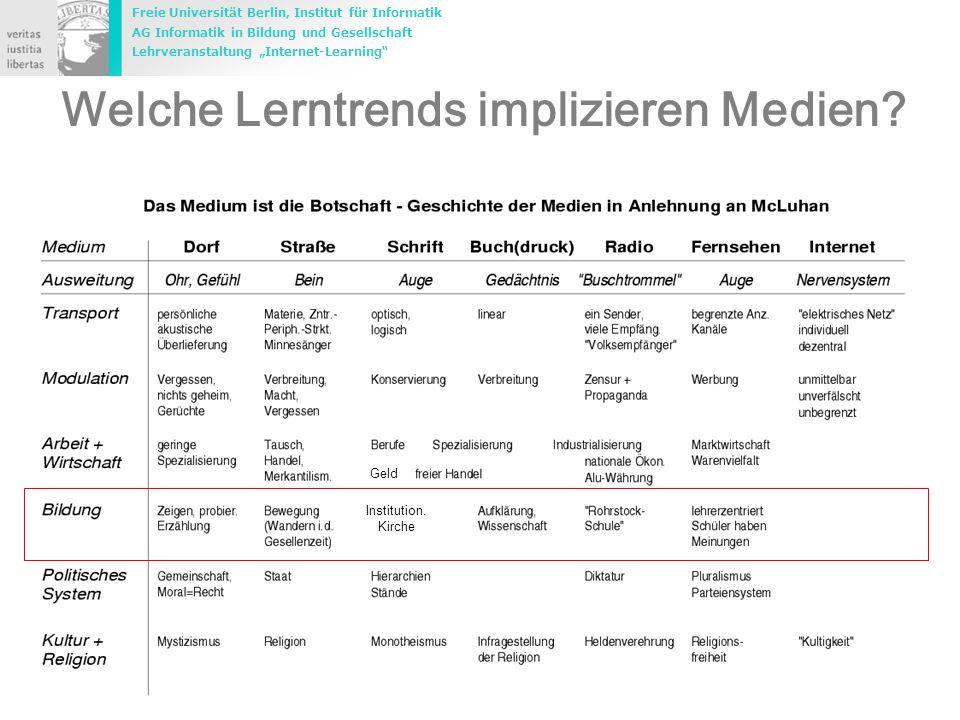 """Freie Universität Berlin, Institut für Informatik AG Informatik in Bildung und Gesellschaft Lehrveranstaltung """"Internet-Learning 3 Marco.Rademacher@inf.fu-berlin.de Welche Lerntrends implizieren Medien."""