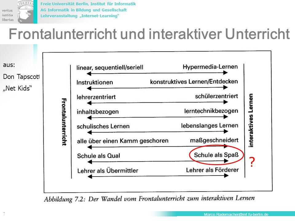 """Freie Universität Berlin, Institut für Informatik AG Informatik in Bildung und Gesellschaft Lehrveranstaltung """"Internet-Learning 7 Marco.Rademacher@inf.fu-berlin.de Frontalunterricht und interaktiver Unterricht aus: Don Tapscott """"Net Kids"""