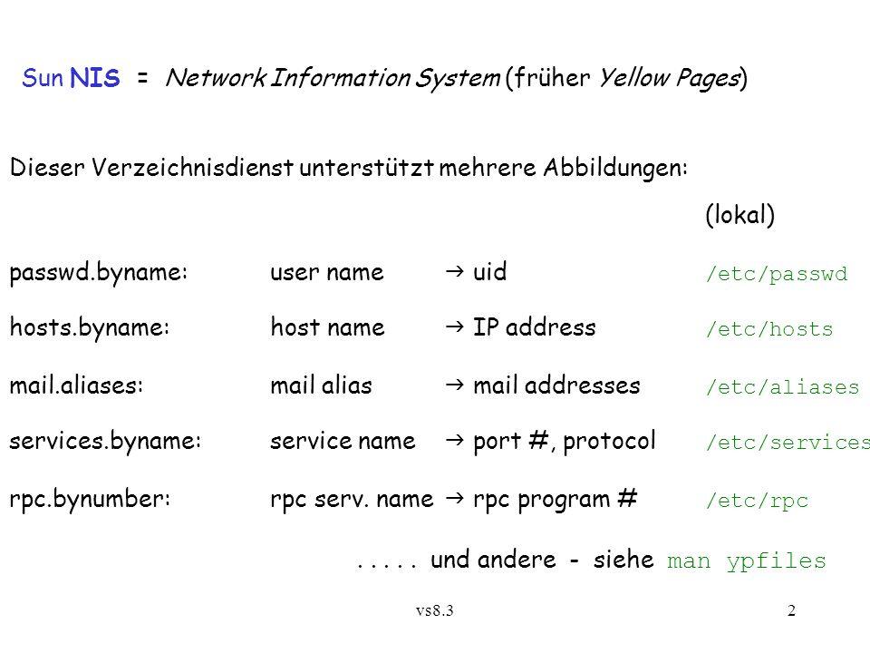 vs8.32 Sun NIS = Network Information System (früher Yellow Pages) Dieser Verzeichnisdienst unterstützt mehrere Abbildungen: (lokal) passwd.byname:user name  uid /etc/passwd hosts.byname:host name  IP address /etc/hosts mail.aliases:mail alias  mail addresses /etc/aliases services.byname:service name  port #, protocol /etc/services rpc.bynumber:rpc serv.