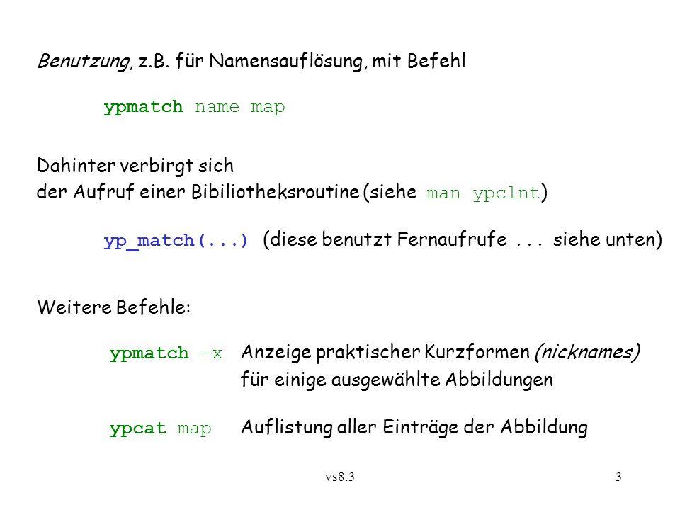 vs8.33 Benutzung, z.B.