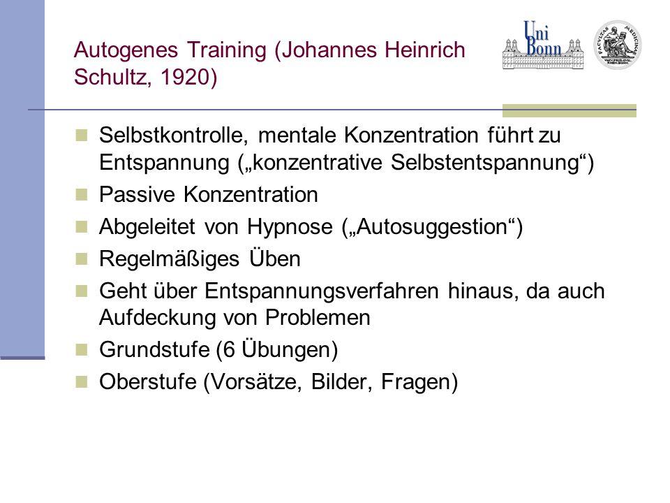 """Autogenes Training (Johannes Heinrich Schultz, 1920) Selbstkontrolle, mentale Konzentration führt zu Entspannung (""""konzentrative Selbstentspannung ) Passive Konzentration Abgeleitet von Hypnose (""""Autosuggestion ) Regelmäßiges Üben Geht über Entspannungsverfahren hinaus, da auch Aufdeckung von Problemen Grundstufe (6 Übungen) Oberstufe (Vorsätze, Bilder, Fragen)"""