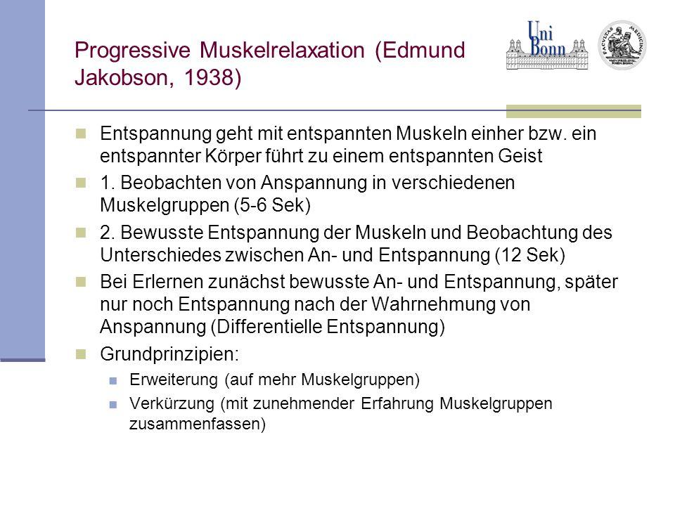 Progressive Muskelrelaxation (Edmund Jakobson, 1938) Entspannung geht mit entspannten Muskeln einher bzw.
