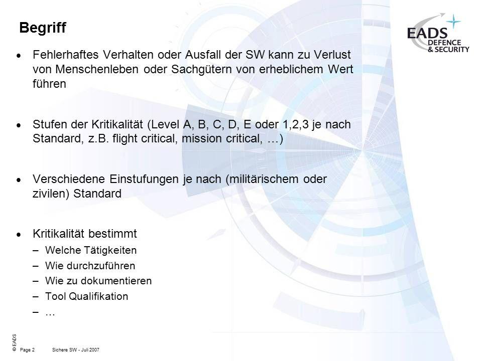 Page 2 © EADS Sichere SW - Juli 2007 Begriff  Fehlerhaftes Verhalten oder Ausfall der SW kann zu Verlust von Menschenleben oder Sachgütern von erheblichem Wert führen  Stufen der Kritikalität (Level A, B, C, D, E oder 1,2,3 je nach Standard, z.B.