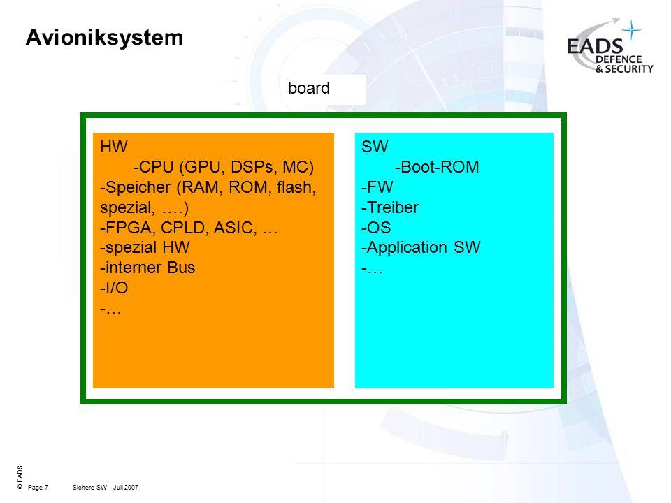 Page 7 © EADS Sichere SW - Juli 2007 Avioniksystem HW -CPU (GPU, DSPs, MC) -Speicher (RAM, ROM, flash, spezial, ….) -FPGA, CPLD, ASIC, … -spezial HW -interner Bus -I/O -… board SW -Boot-ROM -FW -Treiber -OS -Application SW -…