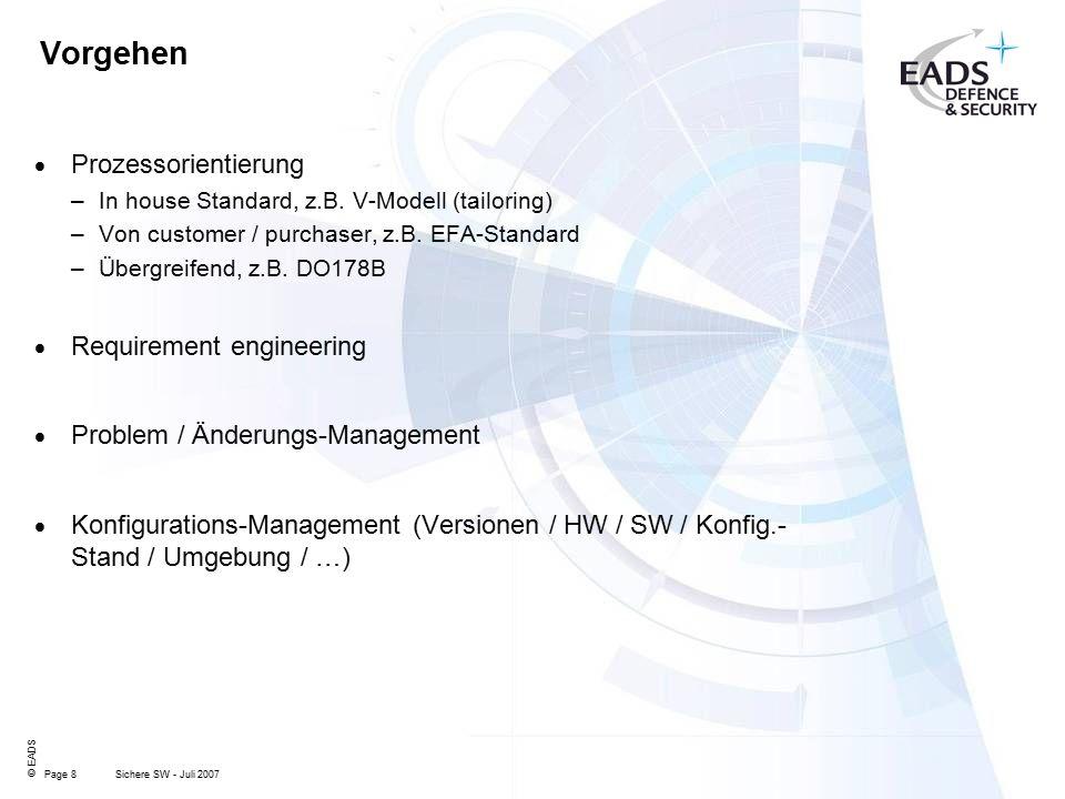Page 8 © EADS Sichere SW - Juli 2007 Vorgehen  Prozessorientierung –In house Standard, z.B.