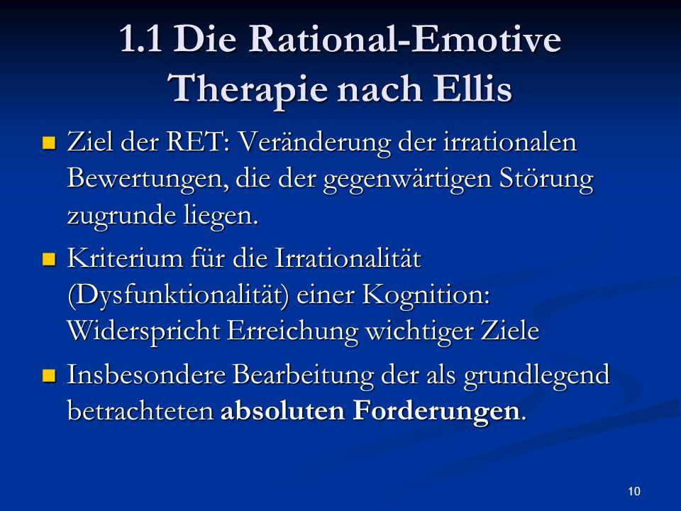 10 1.1 Die Rational-Emotive Therapie nach Ellis Ziel der RET: Veränderung der irrationalen Bewertungen, die der gegenwärtigen Störung zugrunde liegen.
