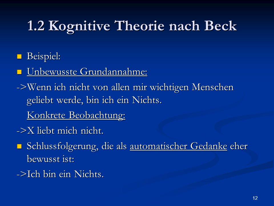 12 1.2 Kognitive Theorie nach Beck Beispiel: Beispiel: Unbewusste Grundannahme: Unbewusste Grundannahme: ->Wenn ich nicht von allen mir wichtigen Mens