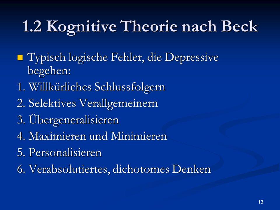 13 1.2 Kognitive Theorie nach Beck Typisch logische Fehler, die Depressive begehen: Typisch logische Fehler, die Depressive begehen: 1. Willkürliches