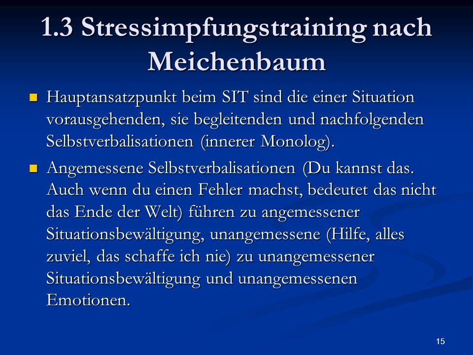 15 1.3 Stressimpfungstraining nach Meichenbaum Hauptansatzpunkt beim SIT sind die einer Situation vorausgehenden, sie begleitenden und nachfolgenden S