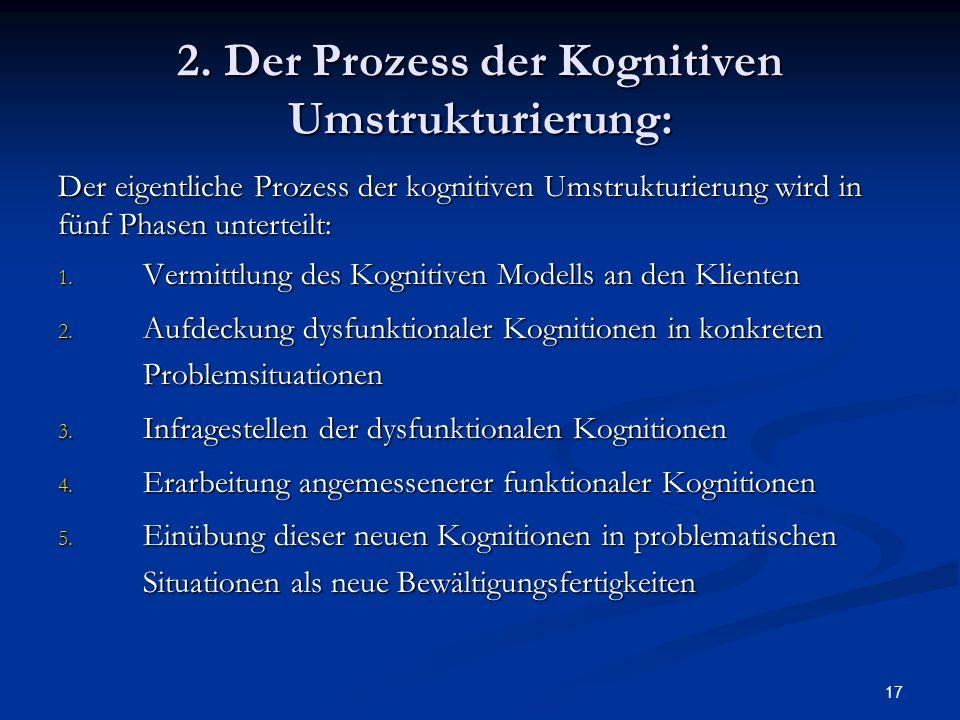17 2. Der Prozess der Kognitiven Umstrukturierung: Der eigentliche Prozess der kognitiven Umstrukturierung wird in fünf Phasen unterteilt: 1. Vermittl