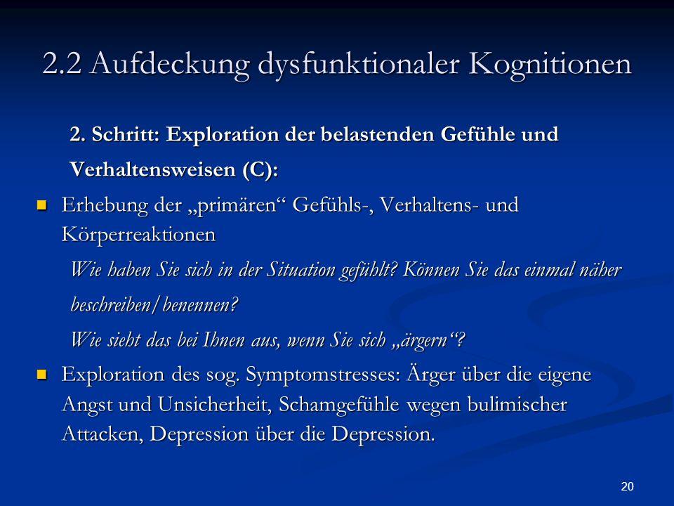 """20 2.2 Aufdeckung dysfunktionaler Kognitionen 2. Schritt: Exploration der belastenden Gefühle und Verhaltensweisen (C): Erhebung der """"primären"""" Gefühl"""
