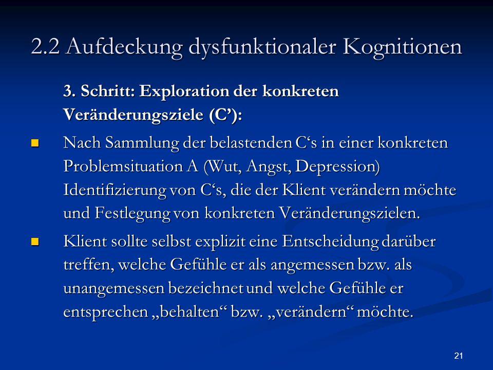 21 2.2 Aufdeckung dysfunktionaler Kognitionen 3. Schritt: Exploration der konkreten Veränderungsziele (C'): Nach Sammlung der belastenden C's in einer