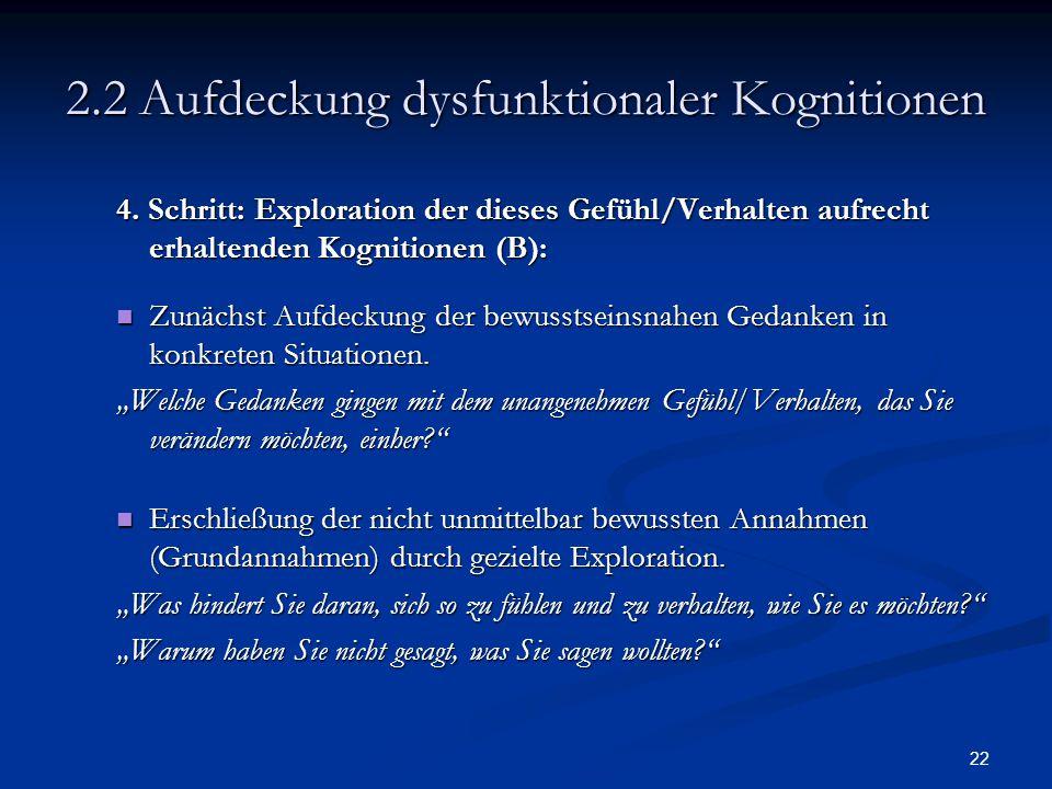 22 2.2 Aufdeckung dysfunktionaler Kognitionen 4. Schritt: Exploration der dieses Gefühl/Verhalten aufrecht erhaltenden Kognitionen (B): Zunächst Aufde