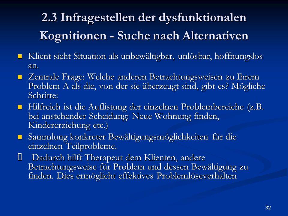 32 2.3 Infragestellen der dysfunktionalen Kognitionen - Suche nach Alternativen Klient sieht Situation als unbewältigbar, unlösbar, hoffnungslos an. K