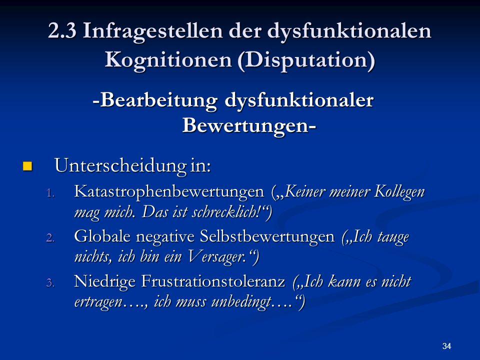 34 2.3 Infragestellen der dysfunktionalen Kognitionen (Disputation) -Bearbeitung dysfunktionaler Bewertungen - Unterscheidung in: Unterscheidung in: 1