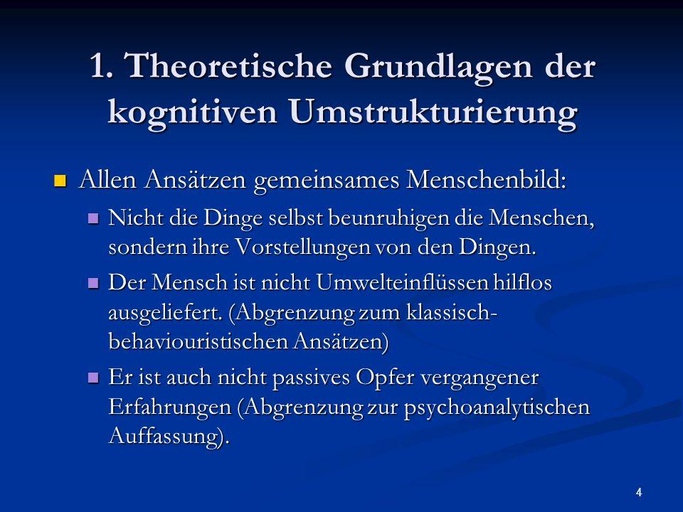 4 1. Theoretische Grundlagen der kognitiven Umstrukturierung Allen Ansätzen gemeinsames Menschenbild: Allen Ansätzen gemeinsames Menschenbild: Nicht d