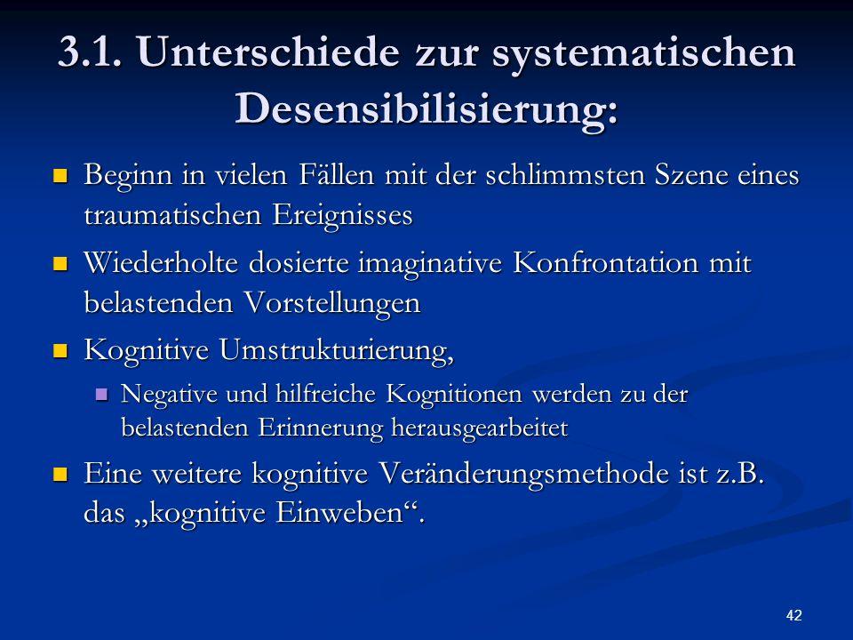 42 3.1. Unterschiede zur systematischen Desensibilisierung: Beginn in vielen Fällen mit der schlimmsten Szene eines traumatischen Ereignisses Beginn i