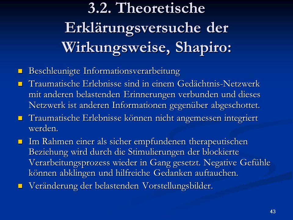 43 3.2. Theoretische Erklärungsversuche der Wirkungsweise, Shapiro: Beschleunigte Informationsverarbeitung Beschleunigte Informationsverarbeitung Trau