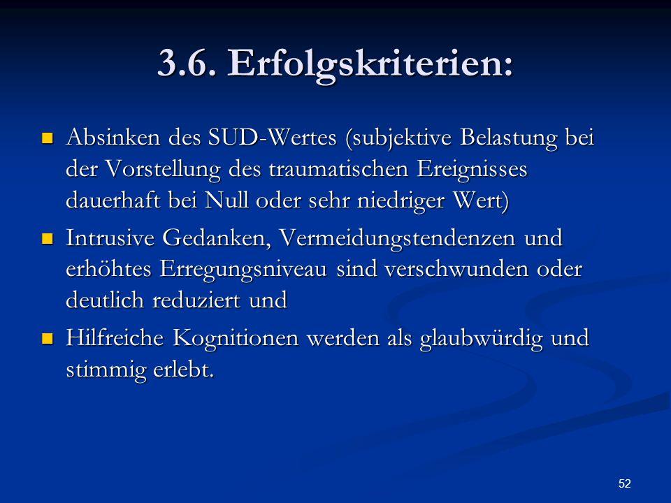 52 3.6. Erfolgskriterien: Absinken des SUD-Wertes (subjektive Belastung bei der Vorstellung des traumatischen Ereignisses dauerhaft bei Null oder sehr