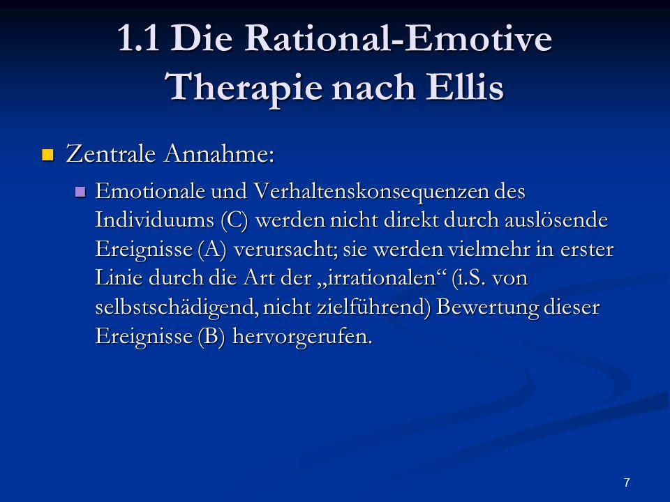 8 1.1 Die Rational-Emotive Therapie nach Ellis Vier Grundkategorien irrationaler Überzeugungen: Vier Grundkategorien irrationaler Überzeugungen: Absolute Forderungen (Muss-Gedanken, z.B.