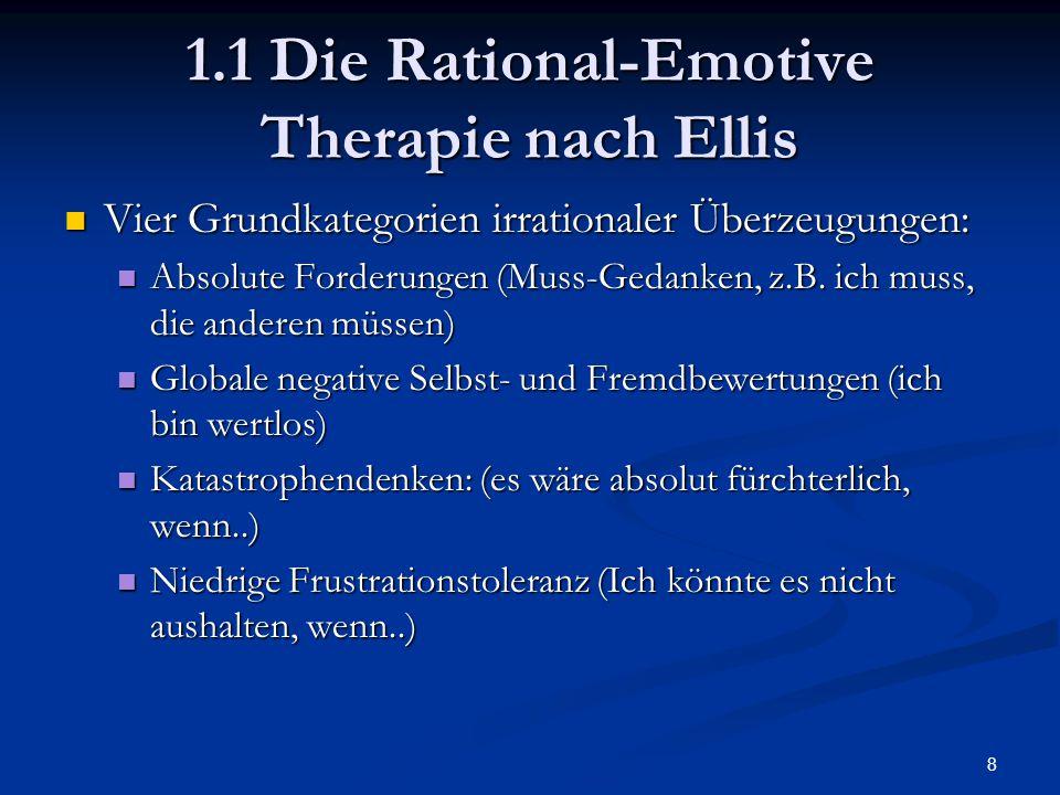 8 1.1 Die Rational-Emotive Therapie nach Ellis Vier Grundkategorien irrationaler Überzeugungen: Vier Grundkategorien irrationaler Überzeugungen: Absol
