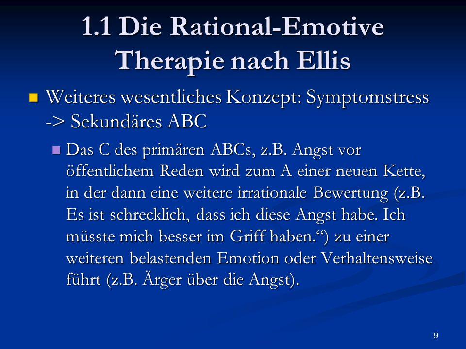 9 1.1 Die Rational-Emotive Therapie nach Ellis Weiteres wesentliches Konzept: Symptomstress -> Sekundäres ABC Weiteres wesentliches Konzept: Symptomst