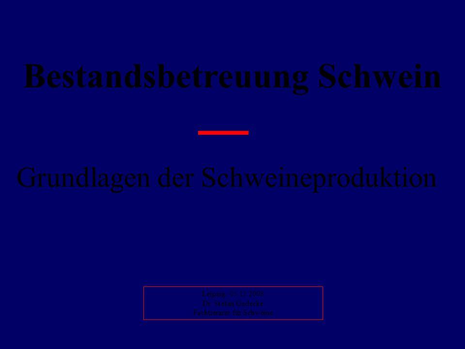 Bestandsbetreuung Schwein Grundlagen der Schweineproduktion Leipzig, 05.11.2008 Dr. Stefan Gedecke Fachtierarzt für Schweine