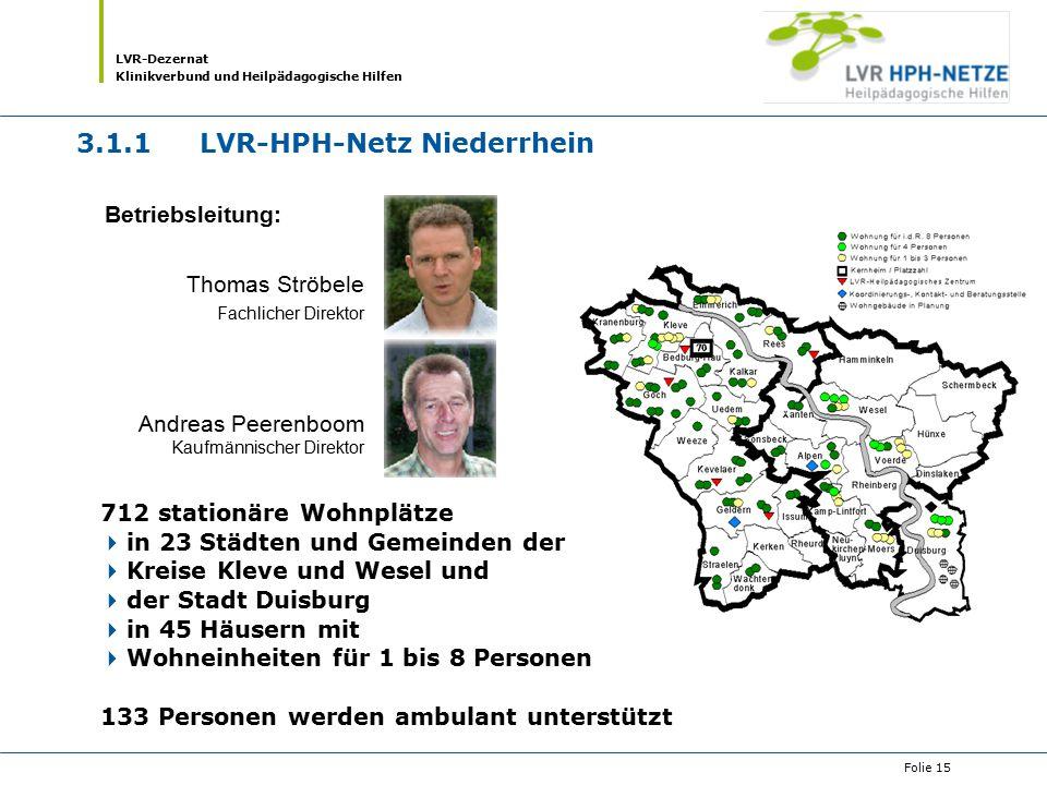 LVR-Dezernat Klinikverbund und Heilpädagogische Hilfen Folie 15 712 stationäre Wohnplätze  in 23 Städten und Gemeinden der  Kreise Kleve und Wesel u
