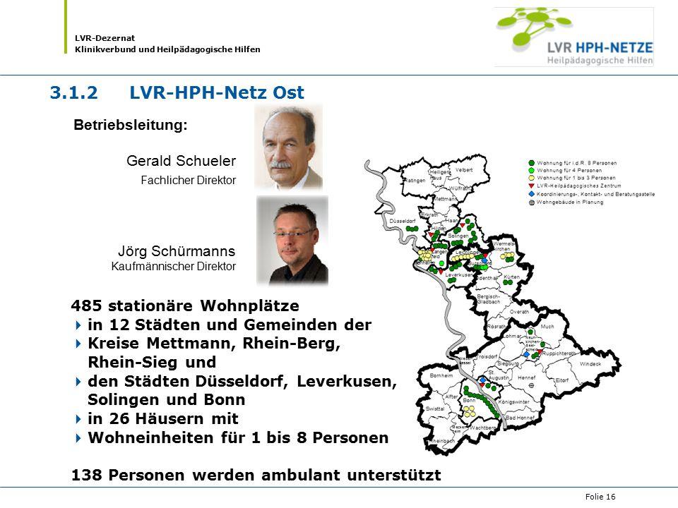 LVR-Dezernat Klinikverbund und Heilpädagogische Hilfen Folie 16 485 stationäre Wohnplätze  in 12 Städten und Gemeinden der  Kreise Mettmann, Rhein-B