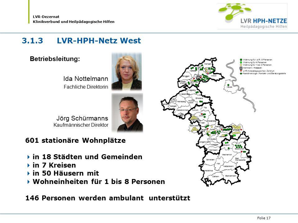 LVR-Dezernat Klinikverbund und Heilpädagogische Hilfen Folie 17 601 stationäre Wohnplätze  in 18 Städten und Gemeinden  in 7 Kreisen  in 50 Häusern
