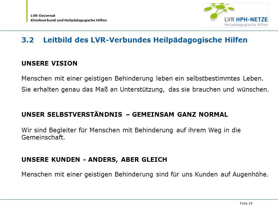 LVR-Dezernat Klinikverbund und Heilpädagogische Hilfen Folie 19 3.2 Leitbild des LVR-Verbundes Heilpädagogische Hilfen UNSERE VISION Menschen mit eine