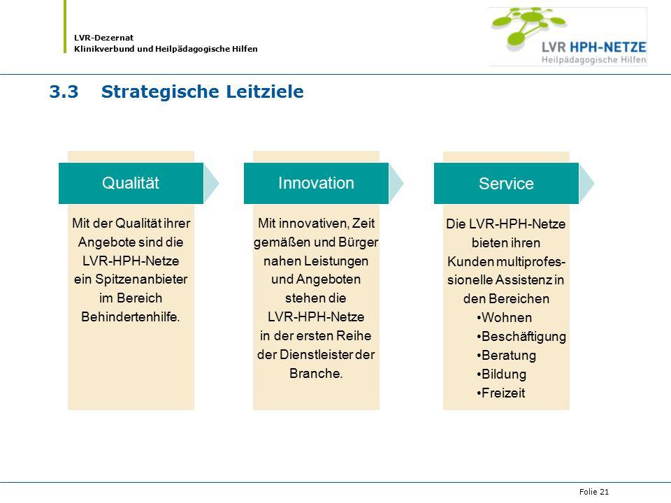 LVR-Dezernat Klinikverbund und Heilpädagogische Hilfen Folie 21 3.3Strategische Leitziele Mit innovativen, Zeit gemäßen und Bürger nahen Leistungen un