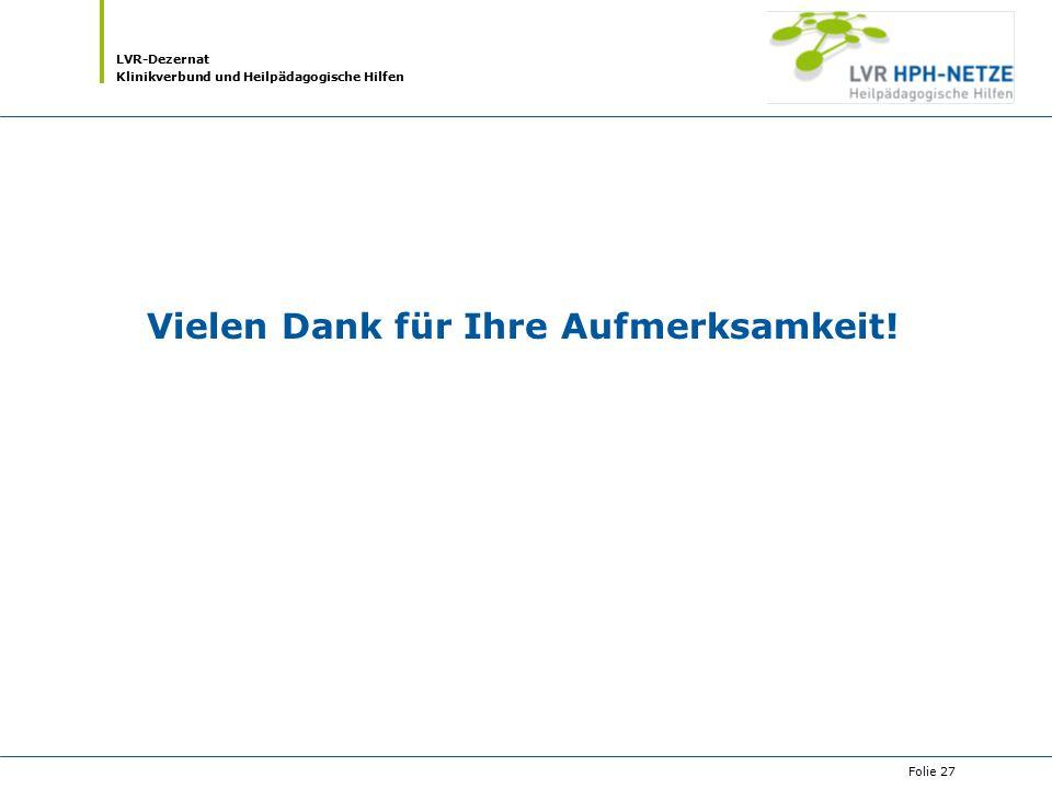 LVR-Dezernat Klinikverbund und Heilpädagogische Hilfen Folie 27 Vielen Dank für Ihre Aufmerksamkeit!