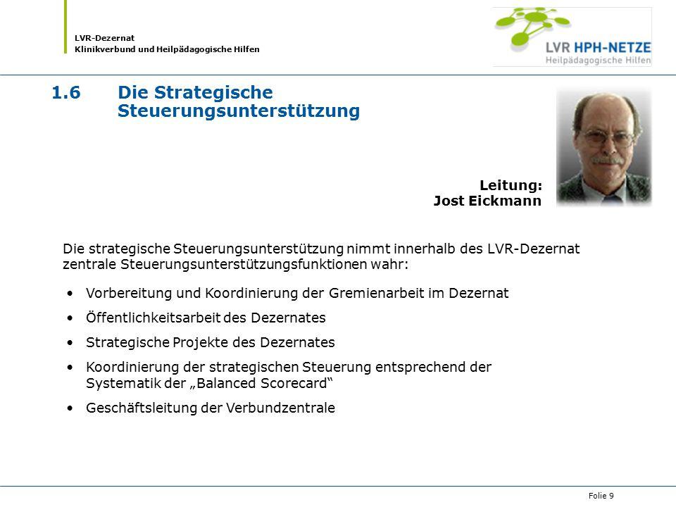 LVR-Dezernat Klinikverbund und Heilpädagogische Hilfen Folie 9 1.6Die Strategische Steuerungsunterstützung Die strategische Steuerungsunterstützung ni
