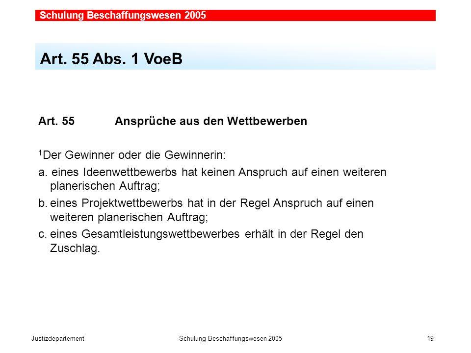 JustizdepartementSchulung Beschaffungswesen 2005 19  Art.