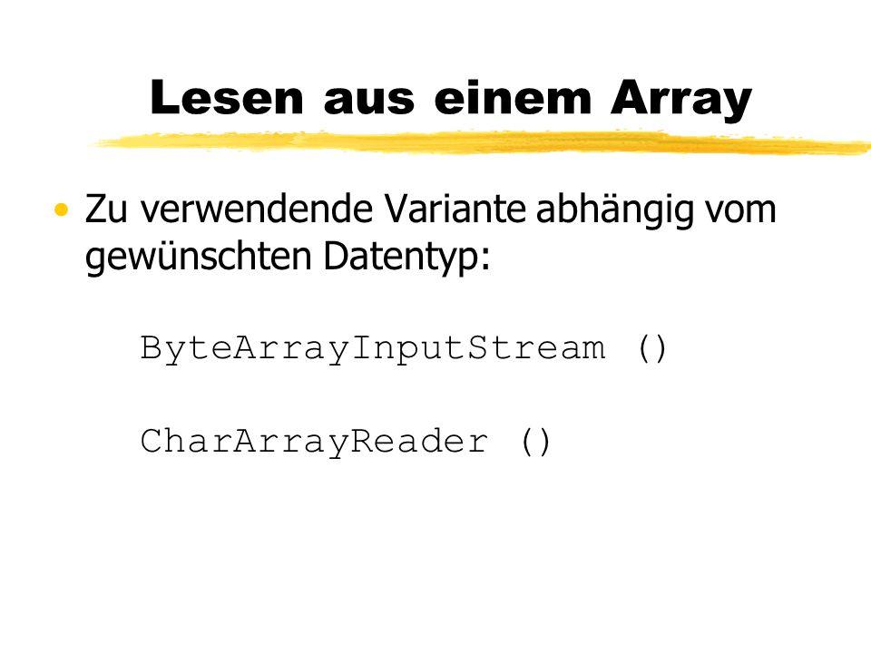 Lesen aus einem Array Zu verwendende Variante abhängig vom gewünschten Datentyp: ByteArrayInputStream () CharArrayReader ()