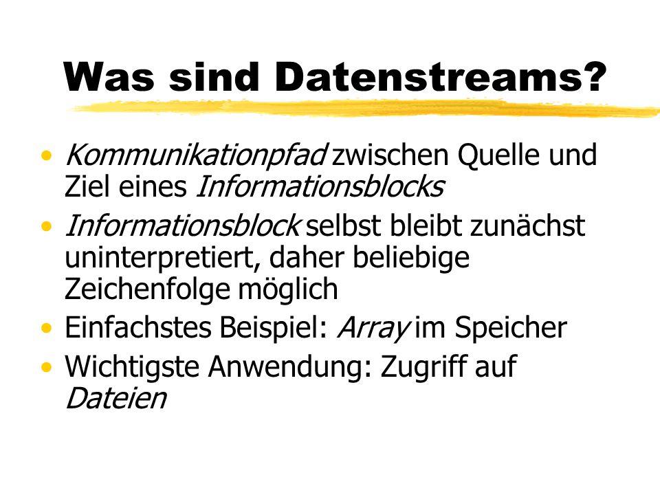 ObjectInputStream Lesen von Objekten mit ObjectInputStream Methoden analog zu DataInputStream, zusätzlich Object readObject() für Objekte Diese müssen allerdings in den richtigen Typ umgewandelt werden, z.B.