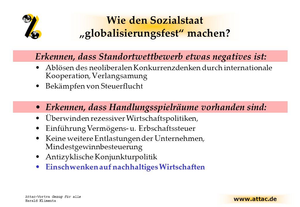 """www.attac.de Attac-Vortra Genug für alle Harald Klimenta Wie den Sozialstaat """"globalisierungsfest machen."""