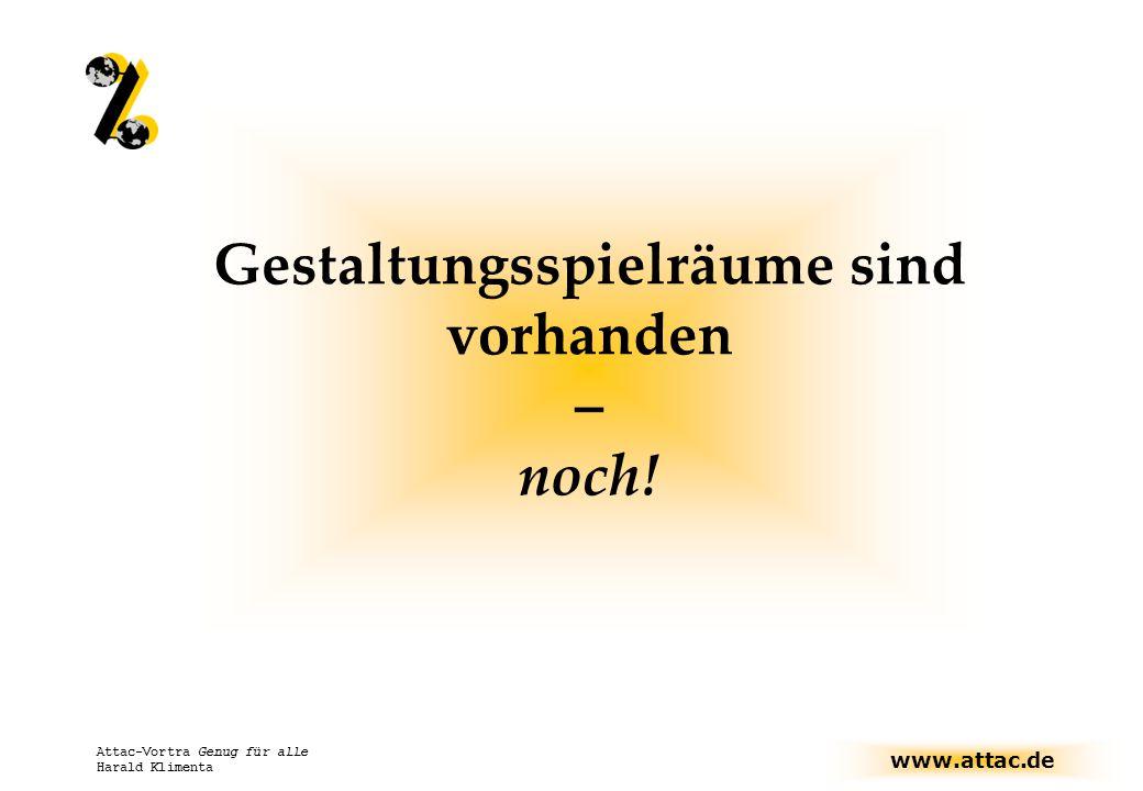 www.attac.de Attac-Vortra Genug für alle Harald Klimenta Gestaltungsspielräume sind vorhanden – noch!