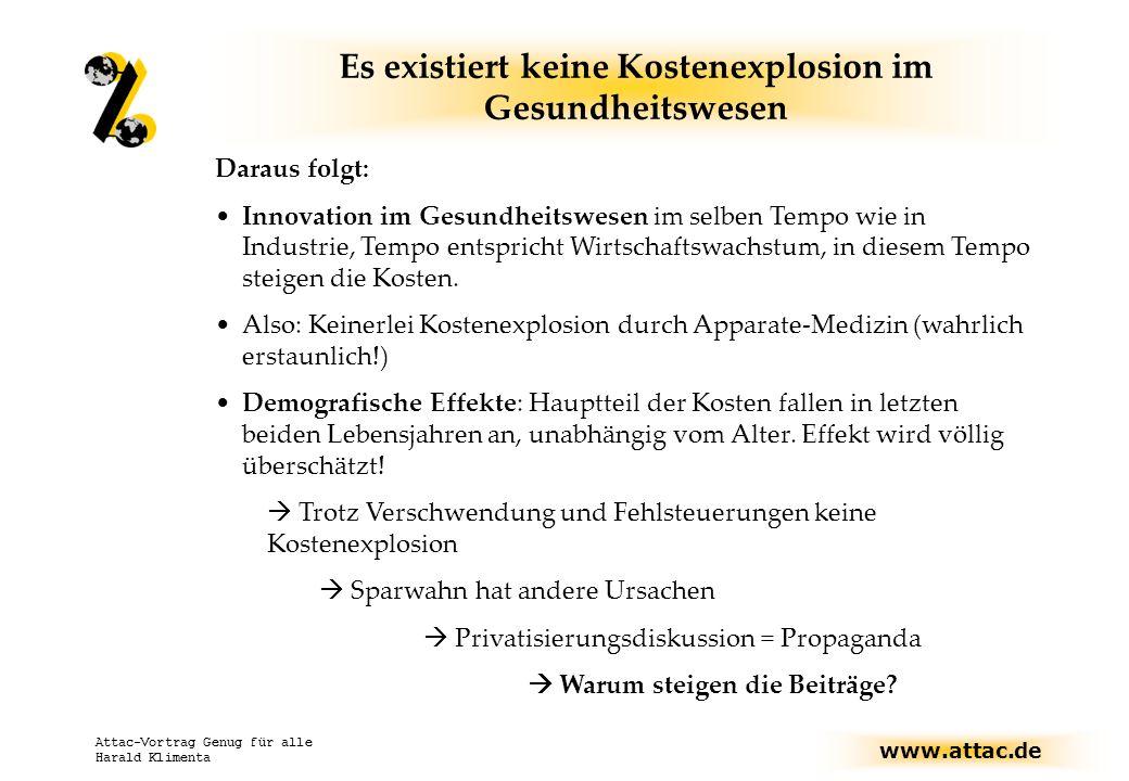 www.attac.de Attac-Vortrag Genug für alle Harald Klimenta Die Reformdebatte steht erst am Anfang Gegenwart: Diskussion über Eigenverantwortung Diskussion über Kopfpauschalen vs.