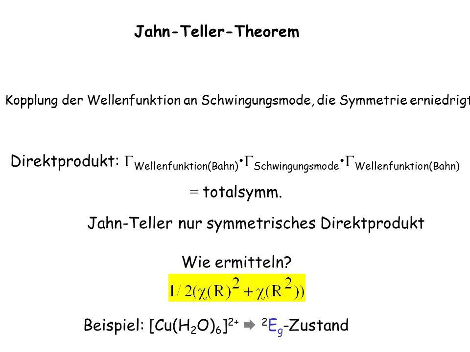 Jahn-Teller-Theorem Kopplung der Wellenfunktion an Schwingungsmode, die Symmetrie erniedrigt Direktprodukt:  Wellenfunktion(Bahn)  Schwingungsmode  Wellenfunktion(Bahn) = totalsymm.