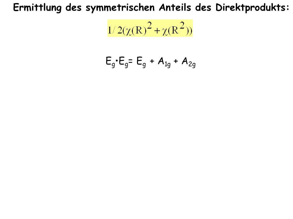 3h3h 6d6d d p 2 -1 0 0 2 2 0 -1 2 0 E C 3 E C 2 ' E E C 2 C 3 E E 2 -1 2 0 2 2 0 -1 2 2 4 1 0 0 4 4 0 1 4 0 6 0 2 2 6 6 2 0 6 2 =============================== 3 0 1 1 3 3 1 0 3 1  e g + a 1g 1 1 -1 -1 1 1 -1 1 1 -1  a 2g EgEg E gE g = E g + A 1g + A 2g Ermittlung des symmetrischen Anteils des Direktprodukts: