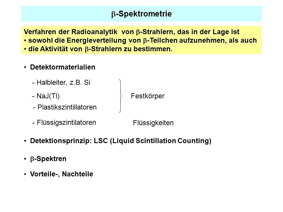  -Spektrometrie Verfahren der Radioanalytik von  -Strahlern, das in der Lage ist sowohl die Energieverteilung von  -Teilchen aufzunehmen, als auch die Aktivität von  -Strahlern zu bestimmen.