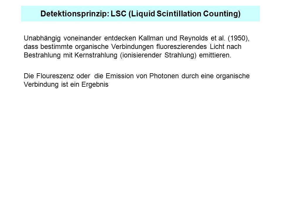 Detektionsprinzip: LSC (Liquid Scintillation Counting) Unabhängig voneinander entdecken Kallman und Reynolds et al. (1950), dass bestimmte organische