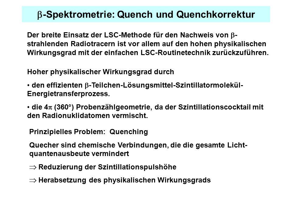  -Spektrometrie: Quench und Quenchkorrektur Der breite Einsatz der LSC-Methode für den Nachweis von  - strahlenden Radiotracern ist vor allem auf den hohen physikalischen Wirkungsgrad mit der einfachen LSC-Routinetechnik zurückzuführen.