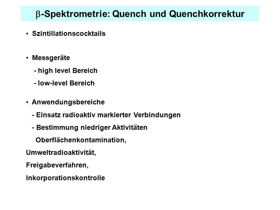  -Spektrometrie: Quench und Quenchkorrektur Anwendungsbereiche - Einsatz radioaktiv markierter Verbindungen - Bestimmung niedriger Aktivitäten Oberfl