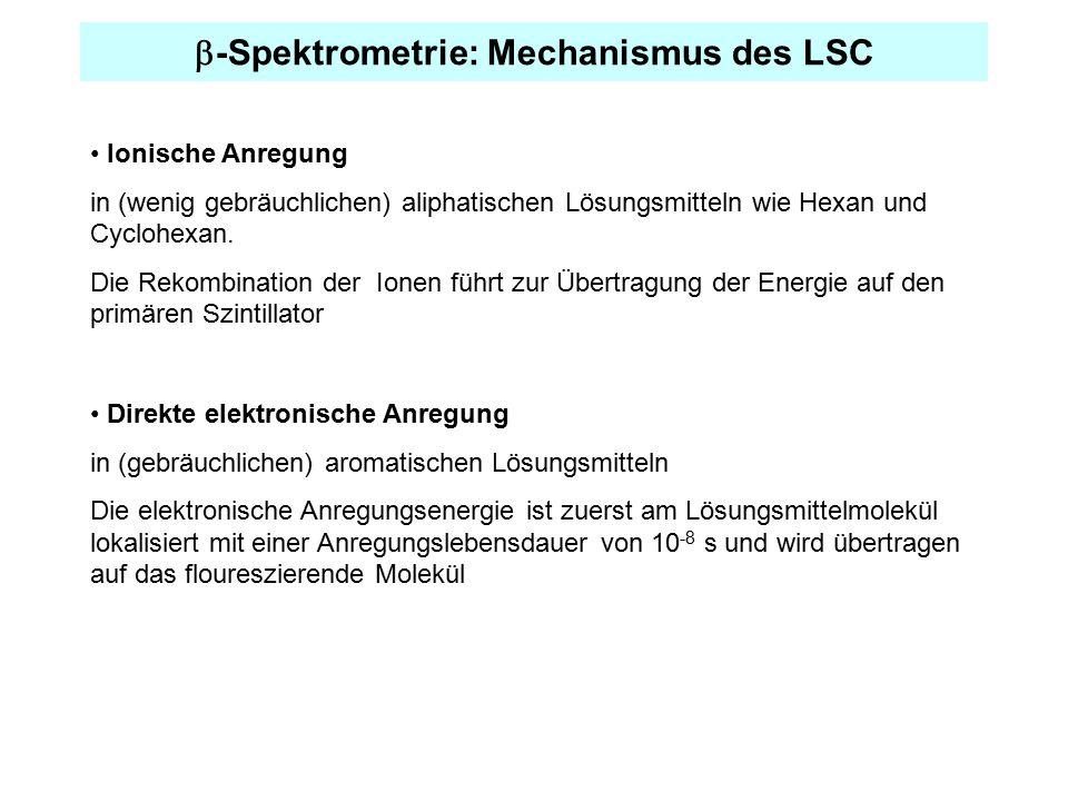  -Spektrometrie: Mechanismus des LSC Ionische Anregung in (wenig gebräuchlichen) aliphatischen Lösungsmitteln wie Hexan und Cyclohexan. Die Rekombina
