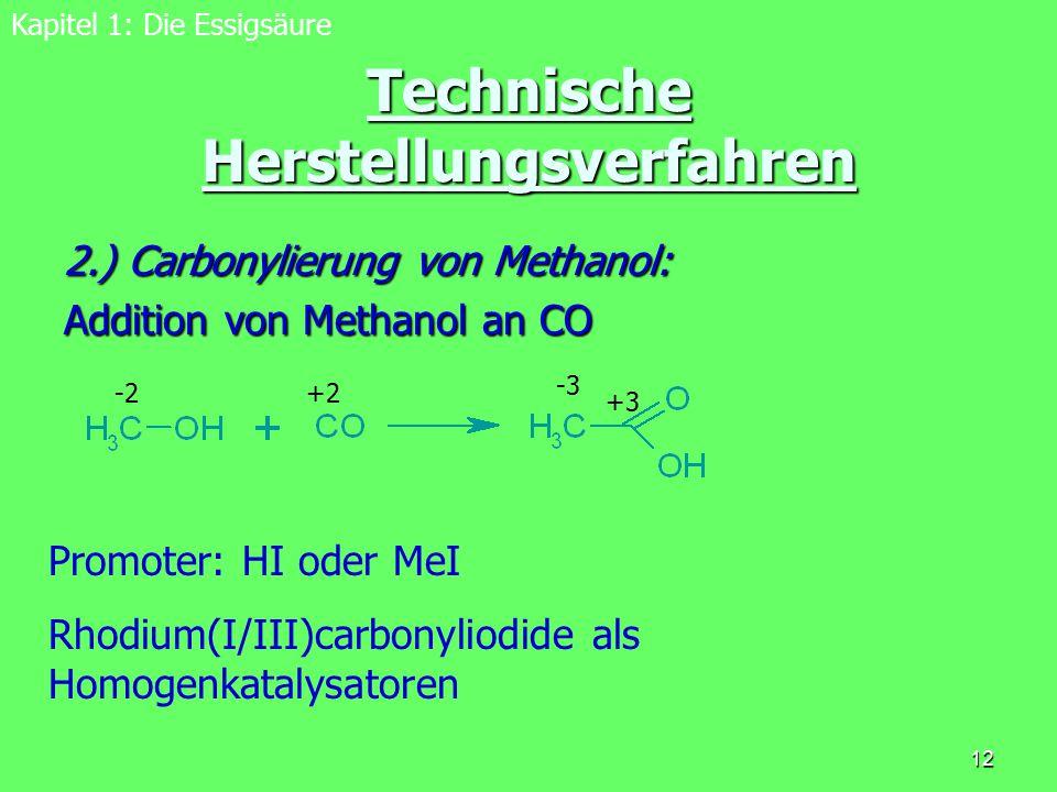12 Technische Herstellungsverfahren 2.) Carbonylierung von Methanol: Addition von Methanol an CO Kapitel 1: Die Essigsäure Promoter: HI oder MeI Rhodi