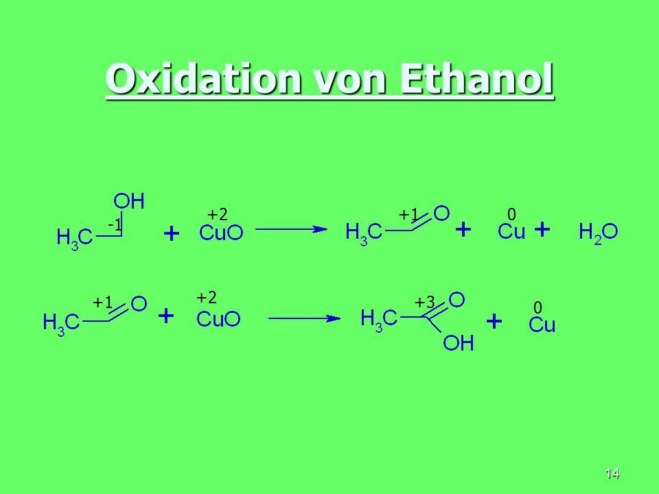 14 Oxidation von Ethanol +2+10 +2 +3 0