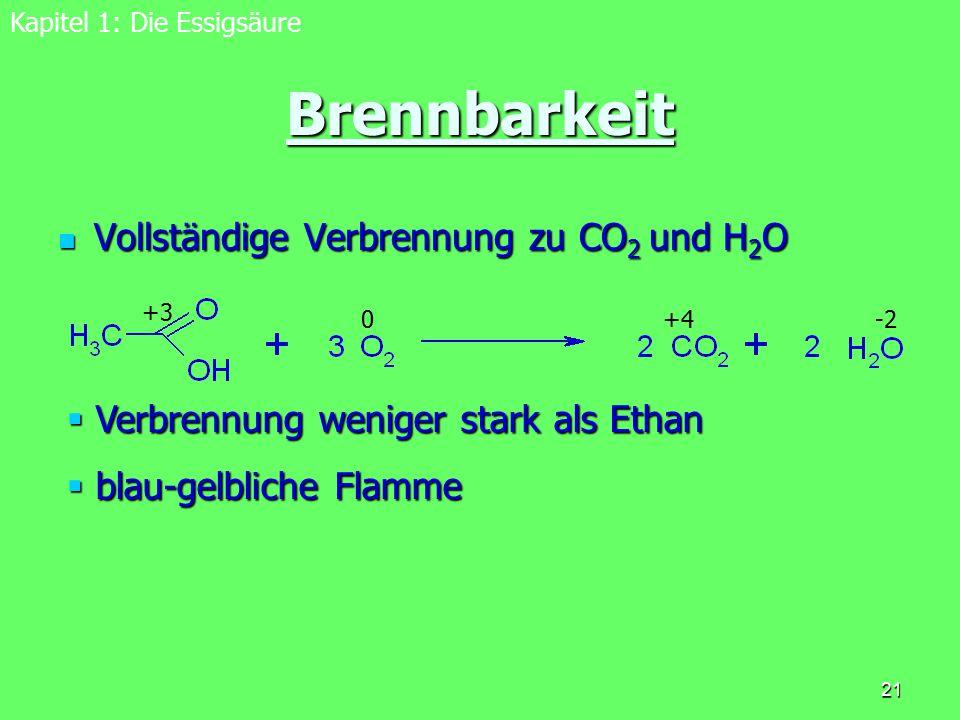 21 Brennbarkeit Vollständige Verbrennung zu CO 2 und H 2 O Vollständige Verbrennung zu CO 2 und H 2 O Kapitel 1: Die Essigsäure  Verbrennung weniger